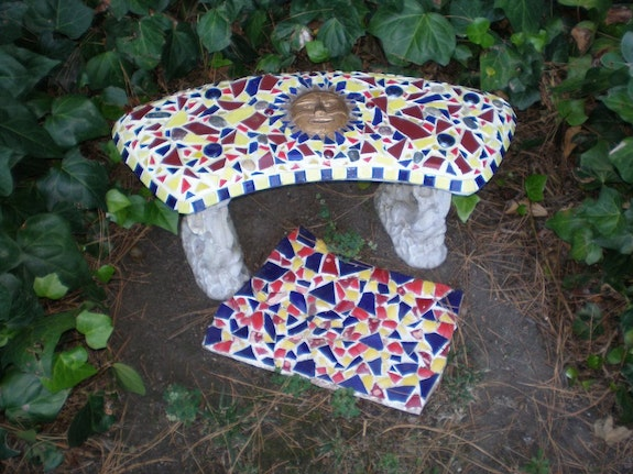 Cement bench. Joy Joy Helm Riley