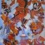 Peinture sous verre - Les aventures d'Amir-Hamza. Annie Saltel
