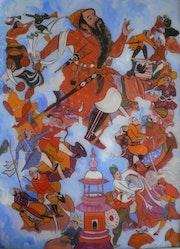 Peinture sous verre - Les aventures d'Amir-Hamza.