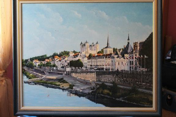 Ville de Saumur vue sur la loire. Roger Machin M. Machin