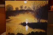 Coucher du soleil au bord du lac….