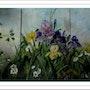Triptyque de roses, iris et camélias. Monique Martin