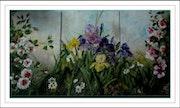 Triptyque de roses, iris et camélias.