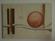 Toile moderne abstraite boule cuivre et tube choco.