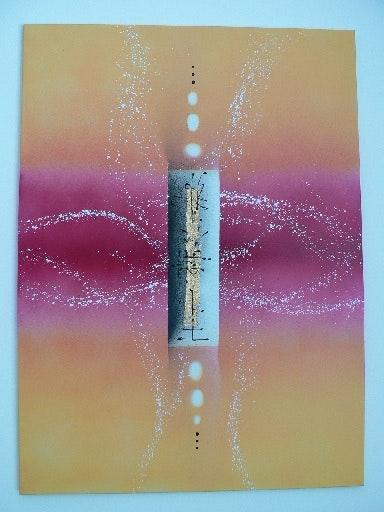 Toile moderne 3d abstraite projection fushia jaune et feuille d'or. Alcina Alves Cin. A