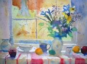 Etude de bouquet avec fruits et vaisselle n°1.