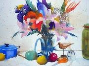 Etude de bouquet avec fruits et vaisselle n°2.