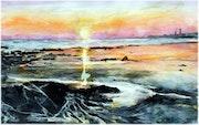 Coucher de soleil marin Penmarch Bretagne aquarelle.
