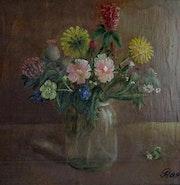 Feldblumenstrauß im Einmachglas.