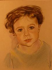 Portrait d'enfant au pastel.