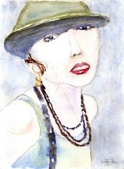 Jeune femme au chapeau.