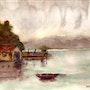 Cabane sur un lac un jour de pluie. Marie-Noel Toulon