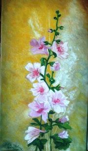 Branche de roses trémières.