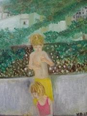 Les enfants sur la terrasse.. Herminia Duruy