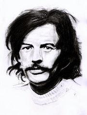 Jean Ferrat, portrait au fusain. Philippe Flohic
