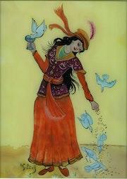 Jeune femmes aux oiseaux - peinture sous verre. Annie Saltel