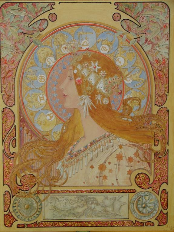 Zodiaque d'après A. Mucha 1896. Eloy Patrick Eloy