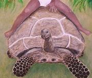 L'enfant et la tortue (gros plan tortue, en gel de structure).
