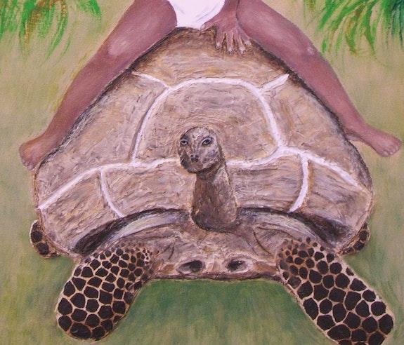 L'enfant et la tortue (gros plan tortue, en gel de structure). Ghislaine Phelut-Sanchez Ghislaine Phelut