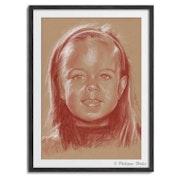 Portrait fillette sanguine. Philippe Flohic