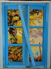 Trompe l'oeil; fenetre bleue sur paysage en hommage à Cadiou.