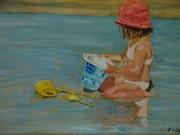 Enfant sur la plage de Mimizan.