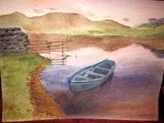 Barque sur lac au couchant.