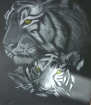 Painting in oils of a tiger & cub. Lizzie Hartwell