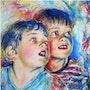 Les petits enfants : pastel, Zorro et Roitelet. Rémy Nicolas