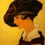 Portrait des années 1900 - peinture sous verre.