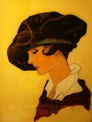 Portrait des années 1900 - peinture sous verre. Annie Saltel