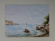 Marseille, barque dans la calanque de Morgiou..