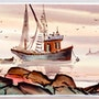 Fishing Boat In Harbor (aq 0077). The William Frederick Brooks Collections