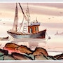 Fishing Boat In Harbor (aq 0076). The William Frederick Brooks Collections