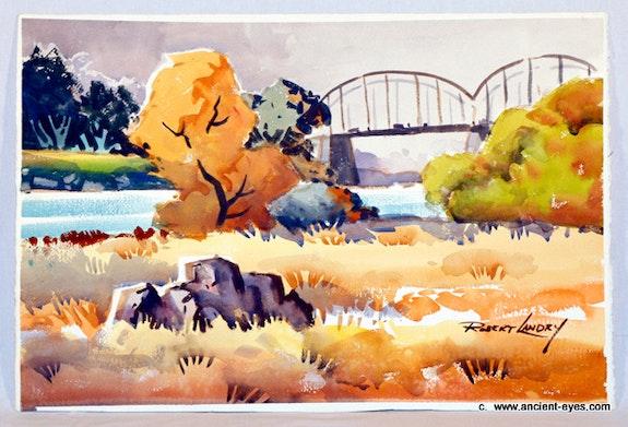 Autumn Bridge - An Original 1940's California Watercolor. Robert Landry The William Frederick Brooks Collections