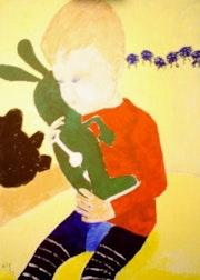 Bild 527: Kleiner Junge mit Plüschhasen.