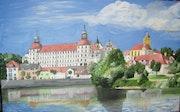 Das Neuburger Schloss mit Blick auf den Donaukai.