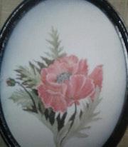 Cuadro flor pintura en raso.