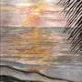 Couher de soleil sur mer avec palme. Marie-Noel Toulon