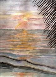 Couher de soleil sur mer avec palme.