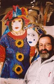 Les clowns en création et l'artiste.