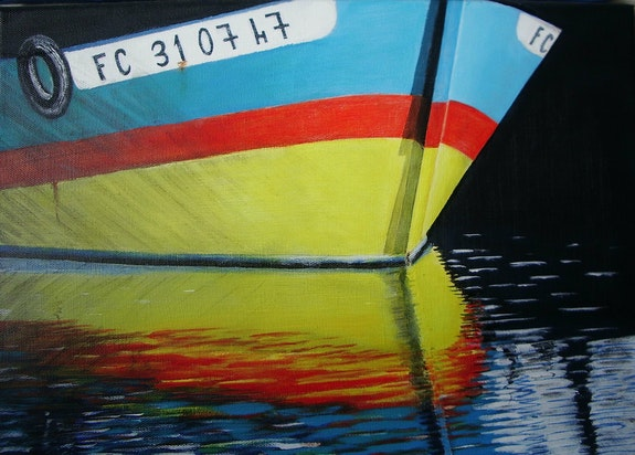 Reflet bateau jaune et bleu. Castagné Castagné
