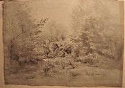 Paysage ancien sous bois, en hiver.. Historien d'art, Archéologue; Chercheur Free-L.