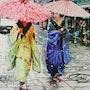2 Geishas ombrelles roses. Clotilde Nadel