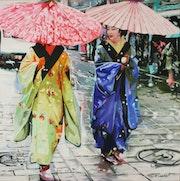2 Geishas ombrelles roses.