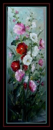 Ensemble de roses trémières.