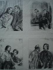 Planche de 4 saynettes de Gavarny. Historien d'art, Archéologue; Chercheur Free-L.