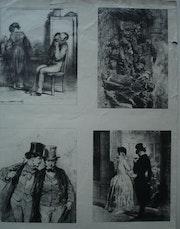 Planche de quatre saynettes de Gavarny. Historien d'art, Archéologue; Chercheur Free-L.