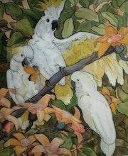 Des perroquets de Jessie Botke - peinture sous verre. Annie Saltel