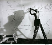 Picasso Working on the Fresco for the film by Luciano Emmer, ca 1953. Lawrence Edwards